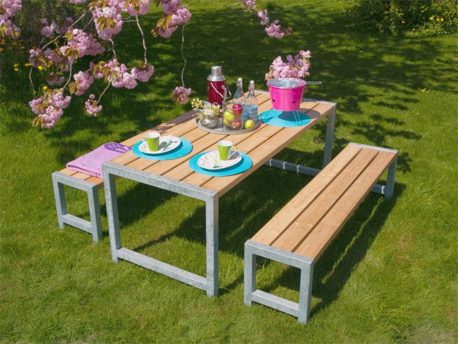 Plank table de jardin en bois autoclave 42mm 77 x 186 x 72 cm - Table bois de jardin ...