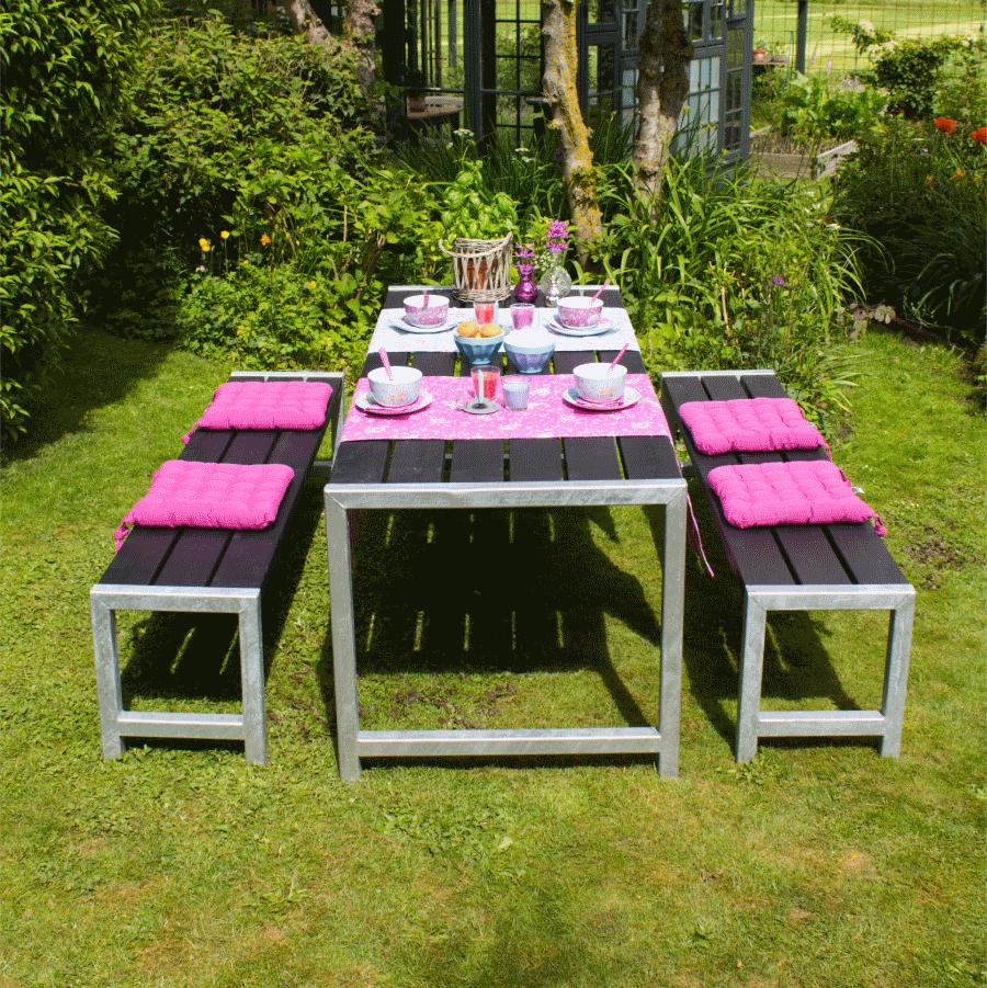 table de jardin en bois autoclave 42mm, 77 x 186 x 72 cm