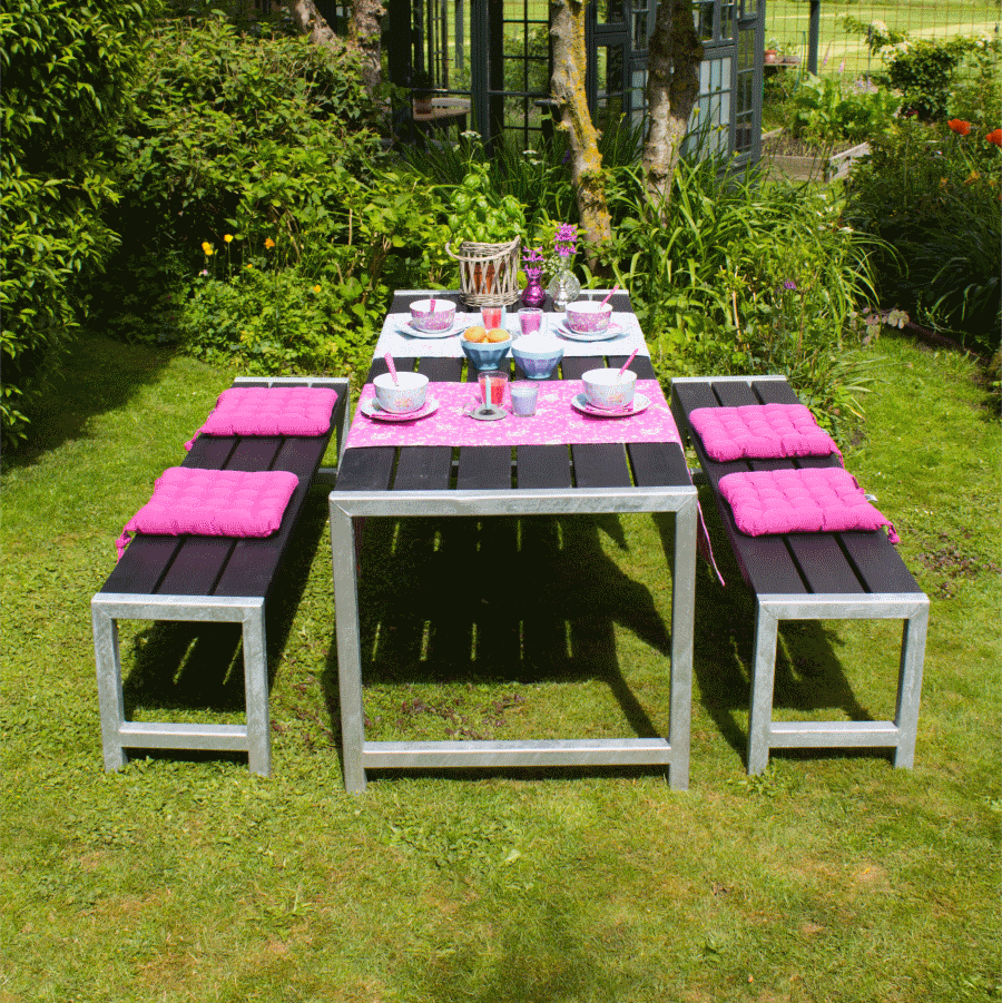table jardin avec banc. Black Bedroom Furniture Sets. Home Design Ideas