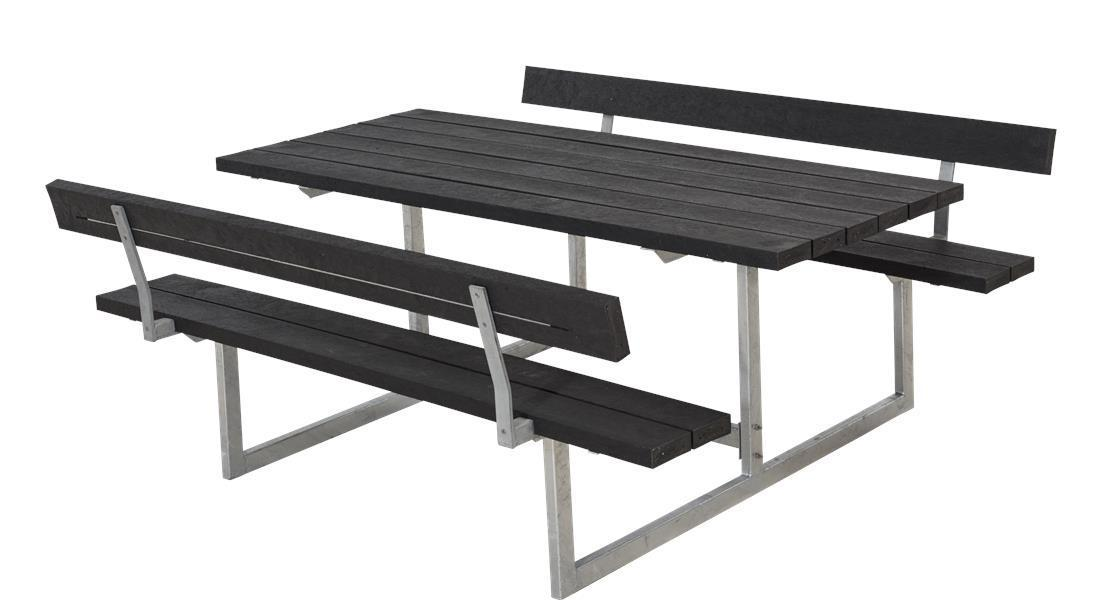 basic table de jardin pique nique design en bois 177x160x73cm. Black Bedroom Furniture Sets. Home Design Ideas