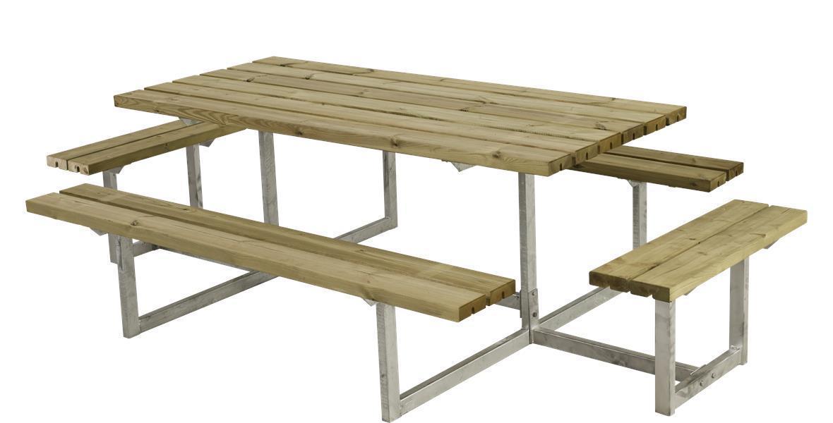 basic table de jardin pique nique design en bois 177x160x73cm. Black Bedroom Furniture Sets. Home Design Ideas