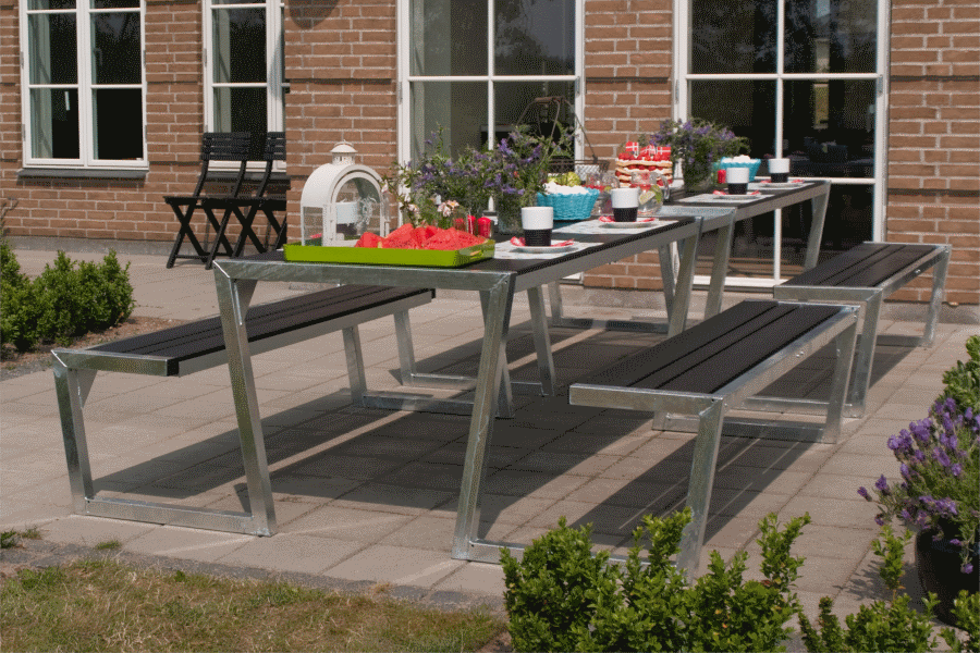 Salon de jardin acier galvanise for Brico depot table de jardin