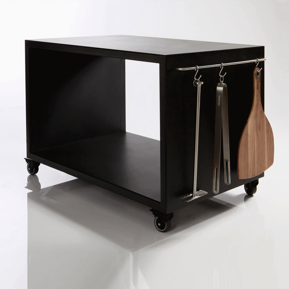 morso forno four pizza au bois avec grande table sur roulettes. Black Bedroom Furniture Sets. Home Design Ideas