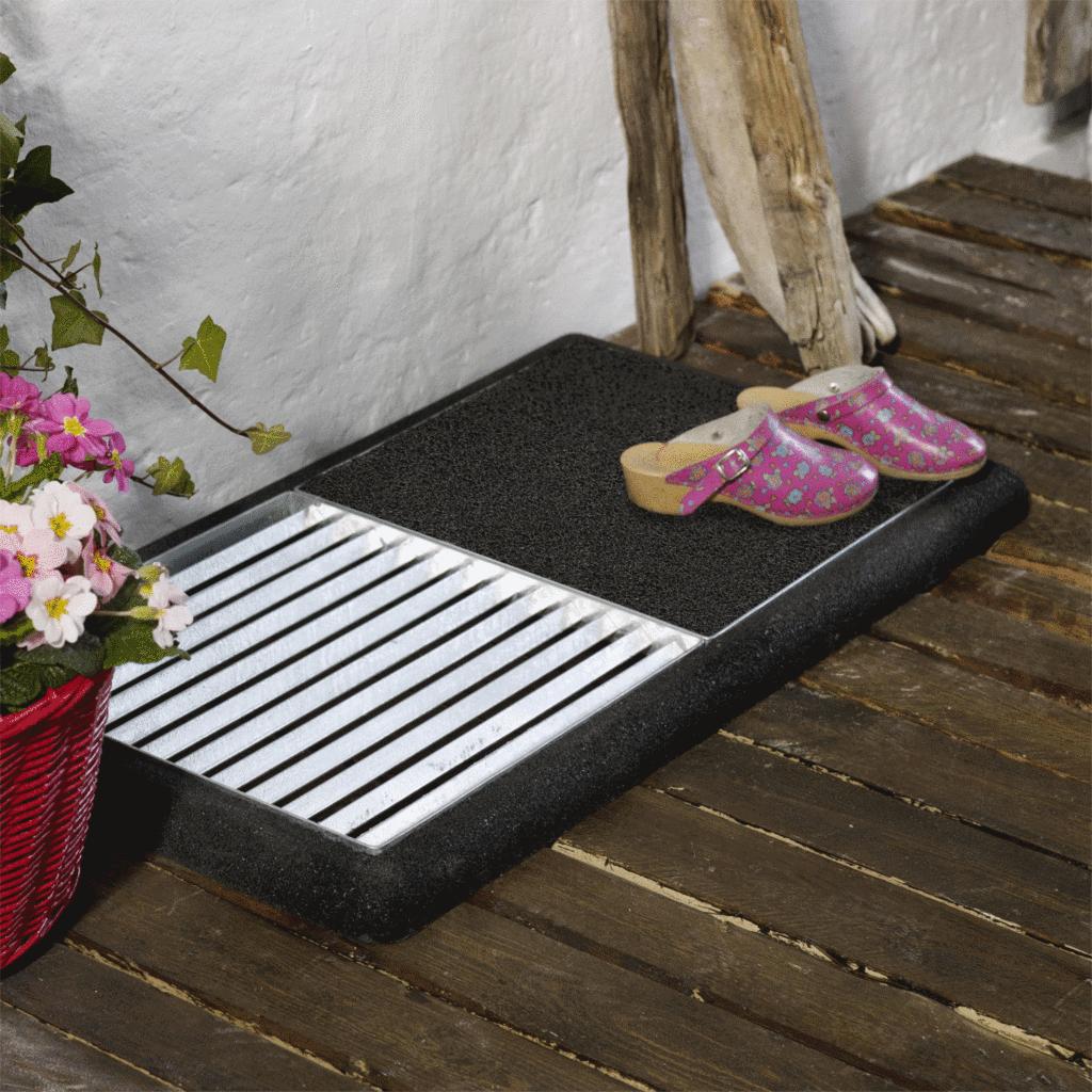 cubic paillasson 2 grilles de 40x40cm tapis caoutchouc noir. Black Bedroom Furniture Sets. Home Design Ideas
