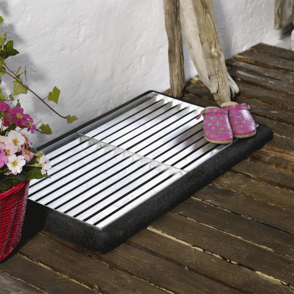 cubic paillasson design double 2 grilles de 40x40cm tapis caoutchouc noir. Black Bedroom Furniture Sets. Home Design Ideas