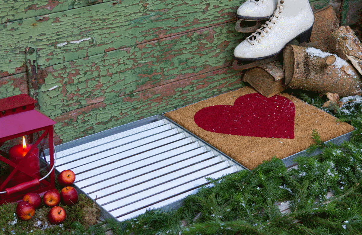 Cubic paillasson design double 80x40cm avec tapis coco rouge - Tapis d entree moderne ...