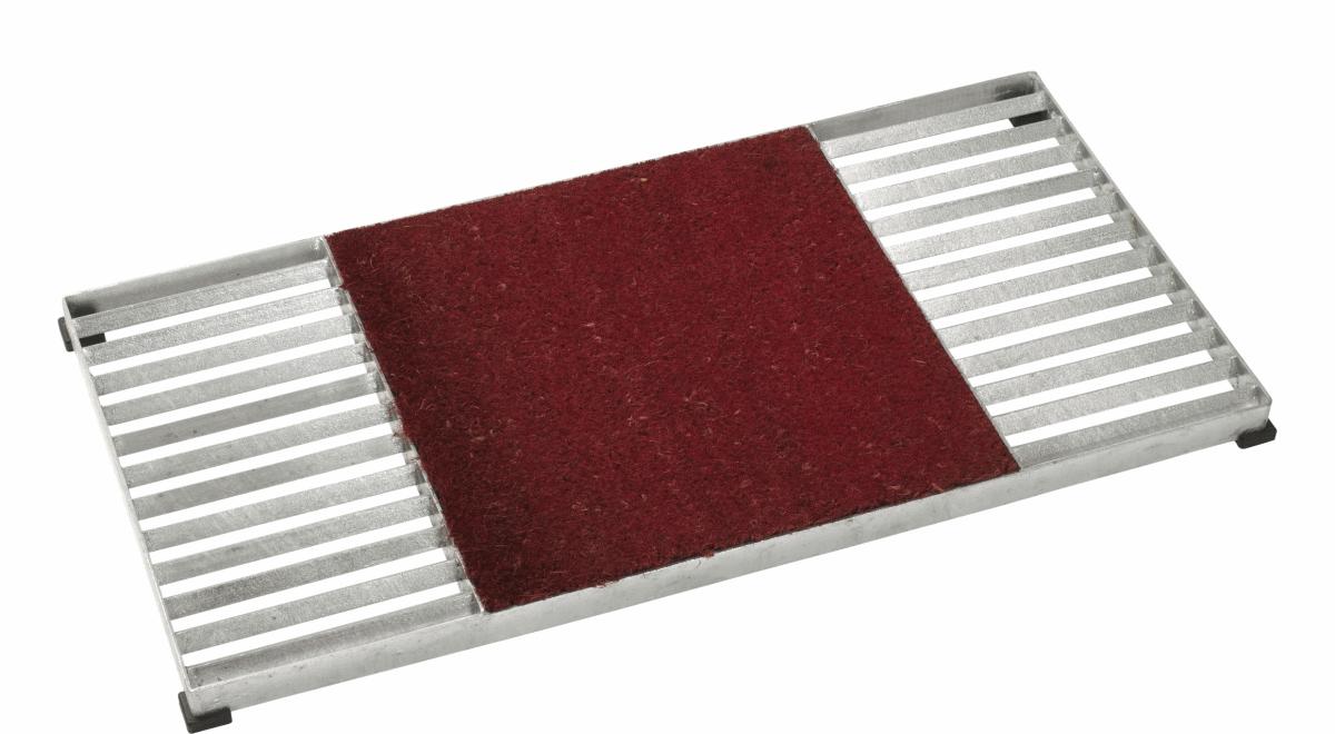 Cubic paillasson design grille 80x40cm avec tapis coco rouge for Tapis rouge avec canapé 145 cm