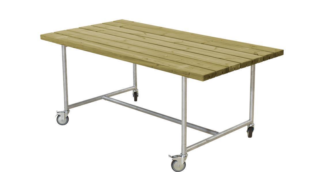 table pique nique urban sur roulettes 177cm. Black Bedroom Furniture Sets. Home Design Ideas