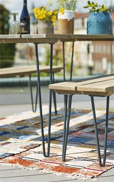 Table pique nique retro 148cm en bois lasur style bois for Bois flotte suisse