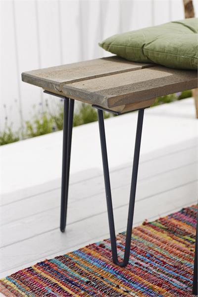 Banc pique nique retro 148cm en bois lasur style bois flott for Banc en bois flotte