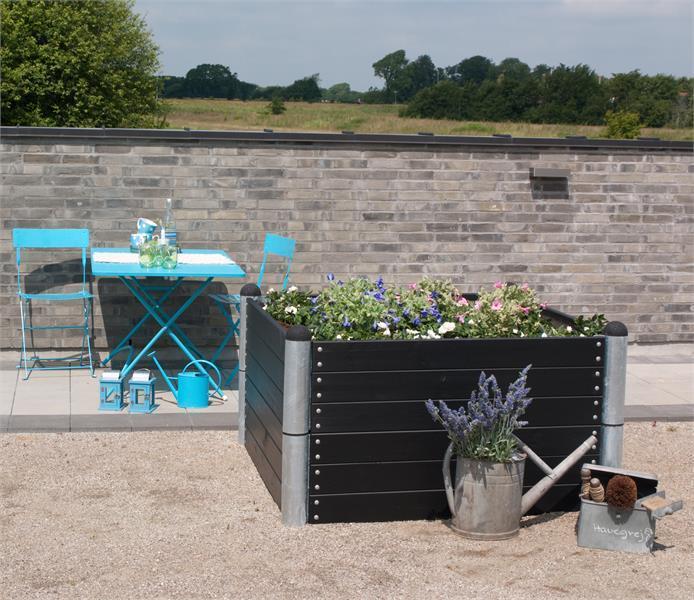 jardini re potager pipe mod le n 16 carr 140x140x36cm en bois autoclave lasur noir. Black Bedroom Furniture Sets. Home Design Ideas