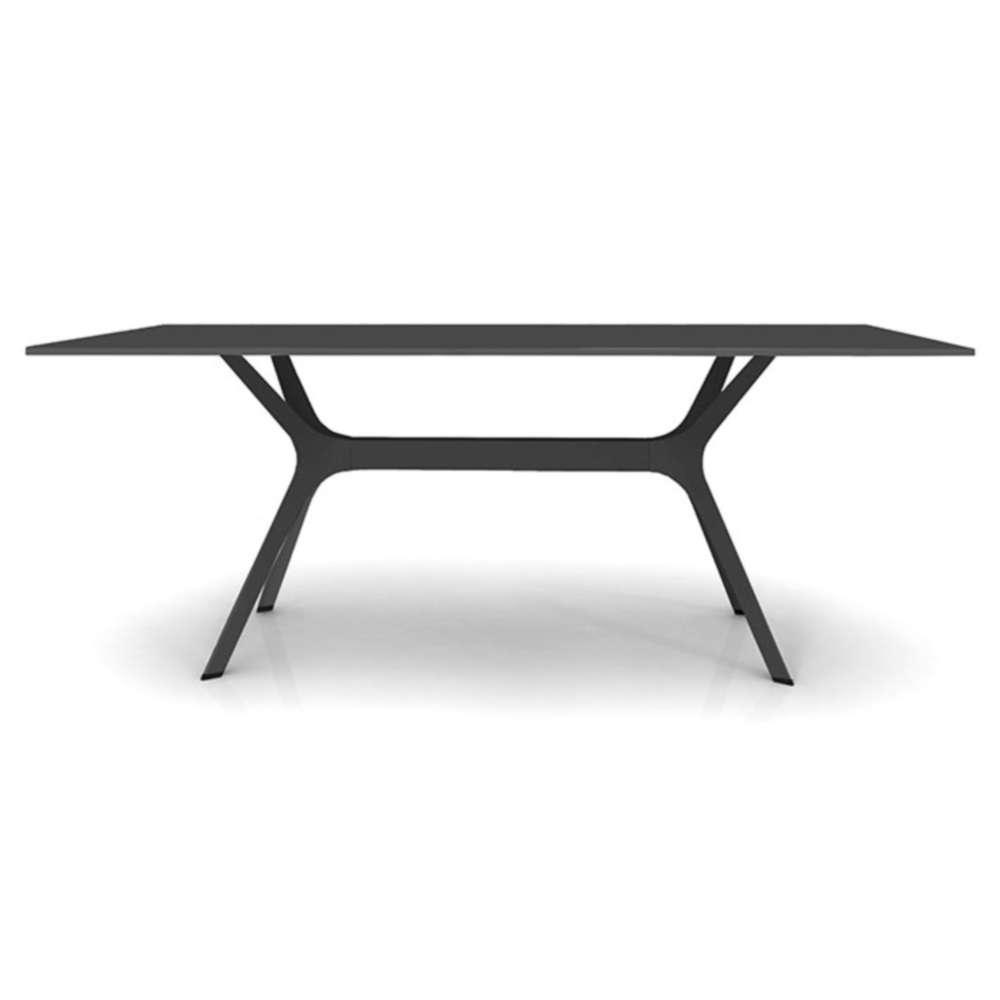 L Table De Jardin Avec Plateau 200x90cm En Hpl Noir Pied Noir # Salon De Jardin Plateau Hpl