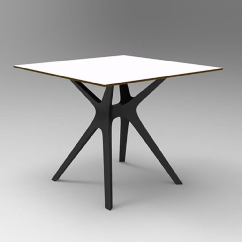 Vela S garden table square 70x70cm HPL white, base black