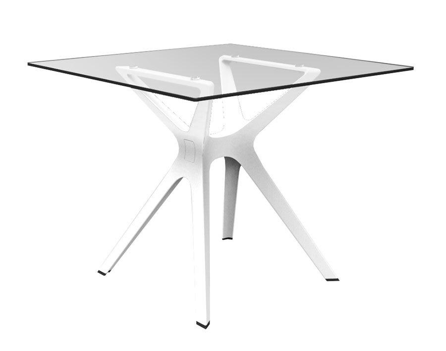 Vela S table de jardin avec plateau carré 70x70cm en verre trempé ...