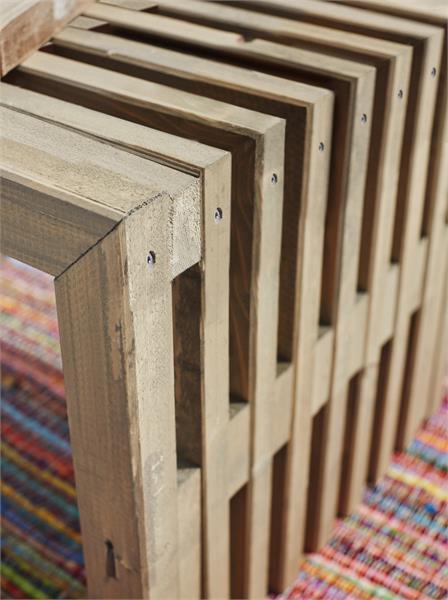 Banc en bois design lattes 138x36cm bois neuf non trait - Lattes banc de jardin ...