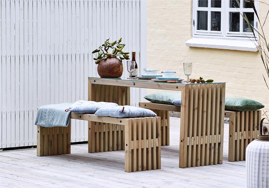 banc en bois design lattes 138x49cm bois neuf non trait. Black Bedroom Furniture Sets. Home Design Ideas