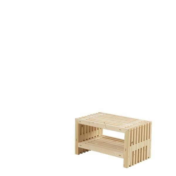 Banc En Bois Design Avec étagère 80x49cm Bois Neuf Non Traité