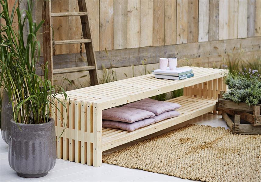 banc en bois design avec tag re 218x49cm bois neuf non. Black Bedroom Furniture Sets. Home Design Ideas