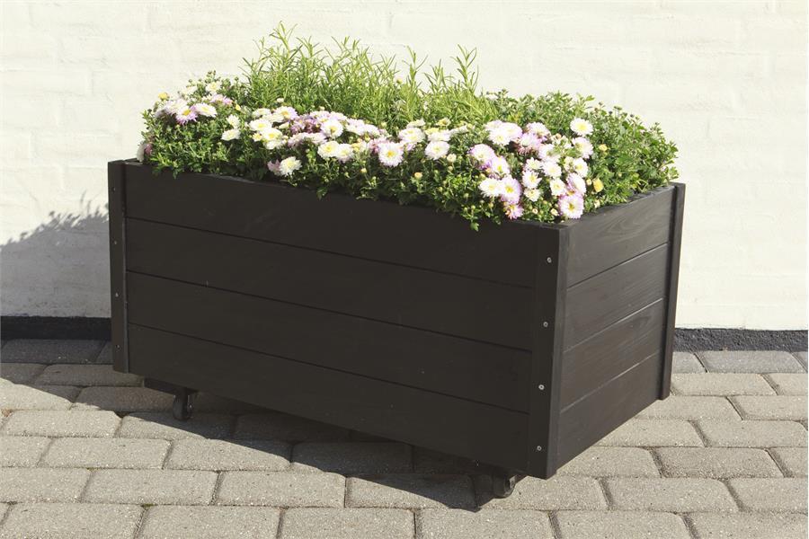 rechthoekige plantenbak op zwenk wielen 88x48x47cm zwart. Black Bedroom Furniture Sets. Home Design Ideas