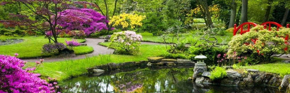 japanse tuin tuinschilderij voor tuindecoratie. Black Bedroom Furniture Sets. Home Design Ideas
