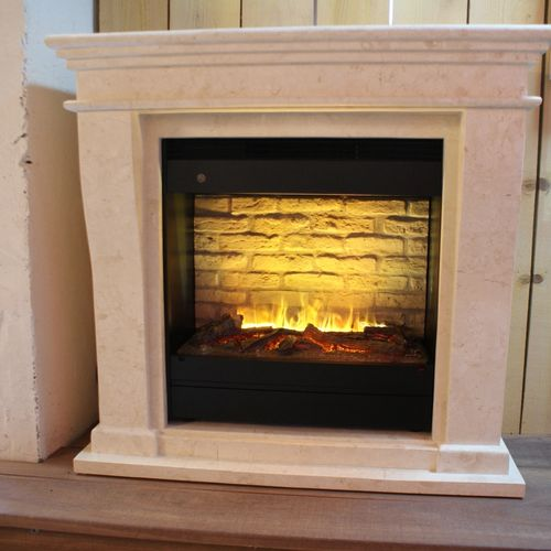 Kreta-mini Fossil Stone fireplace surround for electric or bio ethanol inserts