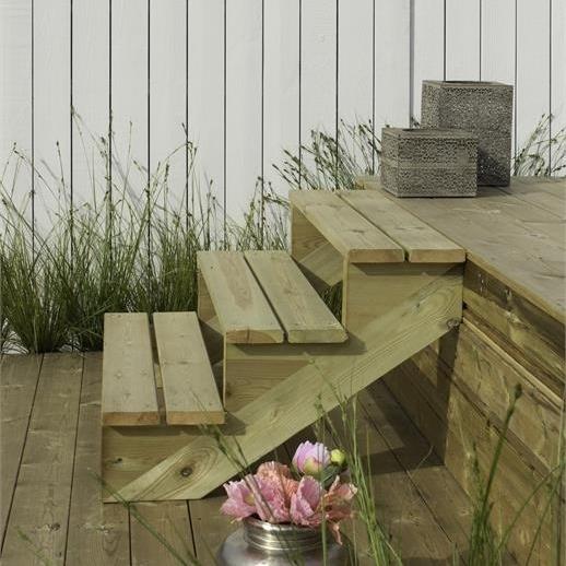 Limon 7 marches pour escalier de jardin en bois autoclave for Escalier pour jardin