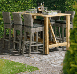 Table bar de jardin en teck recyclé CASA 180x92cm - 4 Seasons