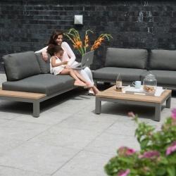 Fidji lounge - salon de jardin lounge en teck et aluminium