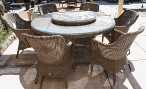 Victoria table de jardin en r sine tress e pure 130cm - Table ronde en resine tressee ...