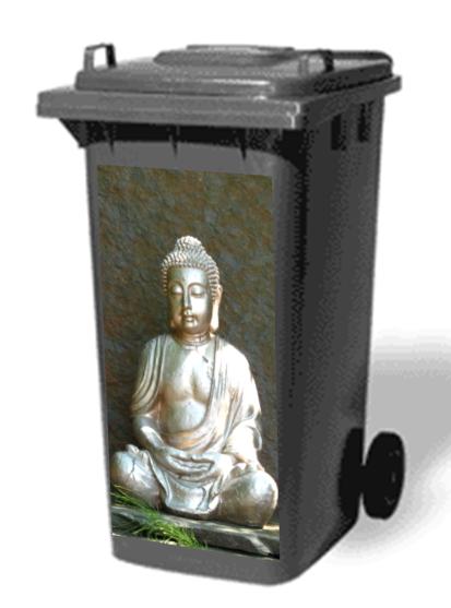 Bouddha sticker poubelle for Coussin exterieur 80x80