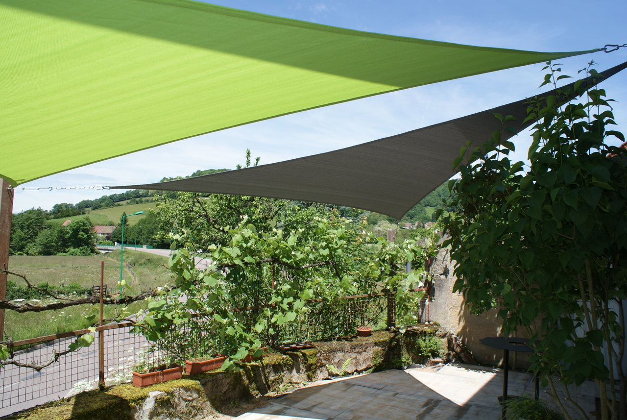 Voile D Ombrage 6 X 4 voiles d'ombrage coolfit - vert anistriangle 5,0 x 5,0 x 5,0m