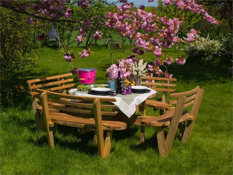Round Picnic Table Cm With Backrest Northern Pine Wood - Picnic table with backrest