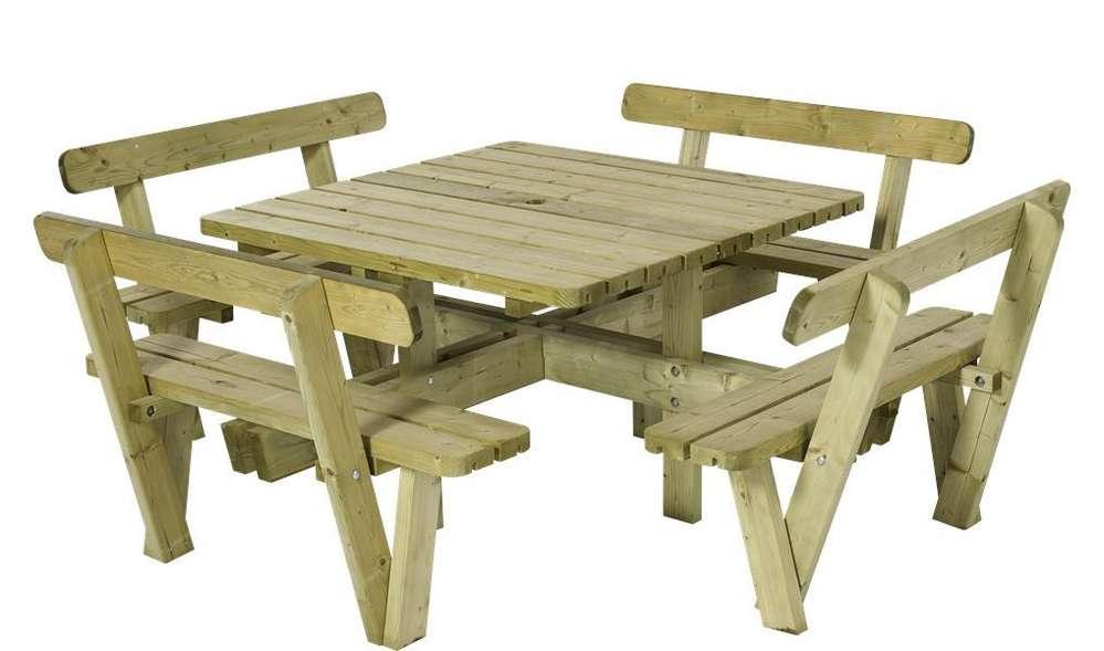 Table pique-nique carré 237 cm en bois, avec 4 bancs et dossiers