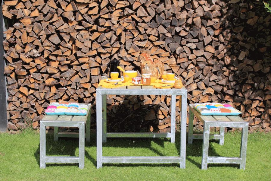 CAFE table de jardin pique-nique en bois 42mm, 77 x 86 x 72 cm