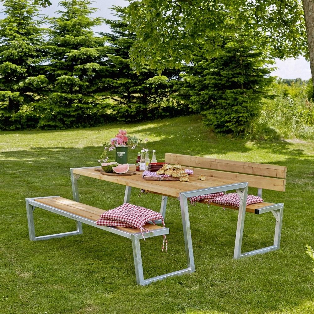 Zigma table de jardin pique nique design bois 190 x 176 x - Table jardin foire fouille fort de france ...