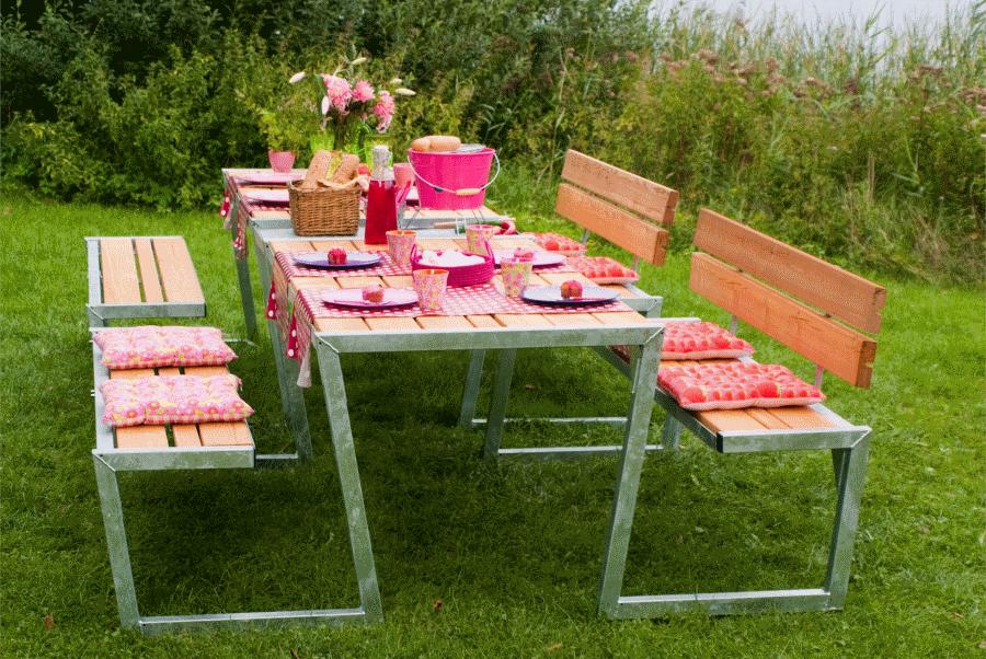 ZIGMA table de jardin pique-nique design bois 190 x 176 x 72 cm