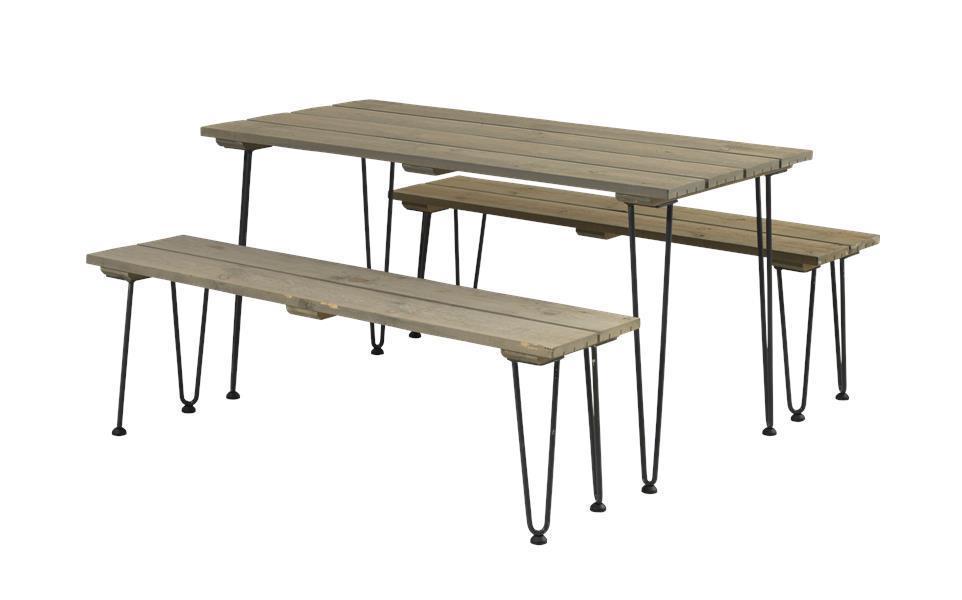 Ensemble table pique-nique RETRO 148cm, lasuré style bois flotté