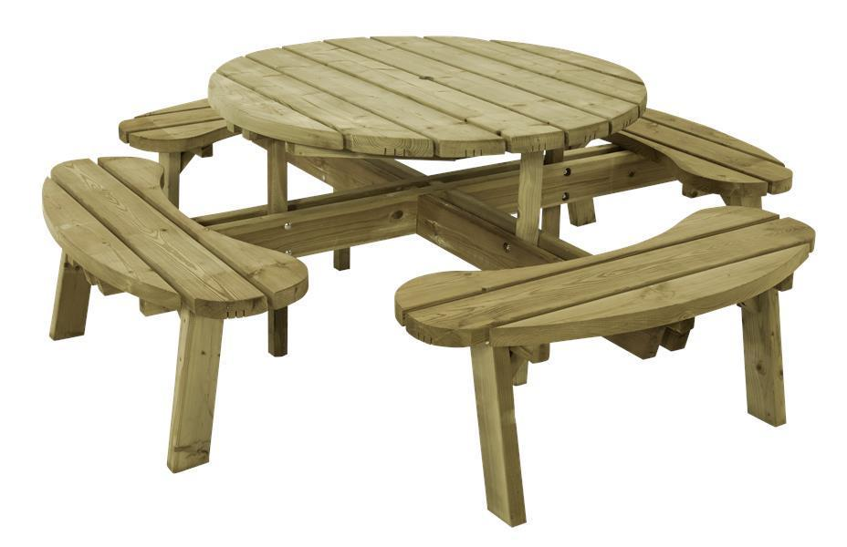 ronde picknicktafel 8 personen van geimpregneerd hout. Black Bedroom Furniture Sets. Home Design Ideas