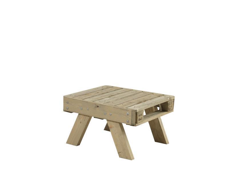 Petite table basse de jardin en palette en bois 80x65,5x45cm
