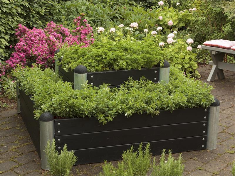 jardini re potager pipe mod le n 16 carr 138x138x36cm en bois composite anthracite