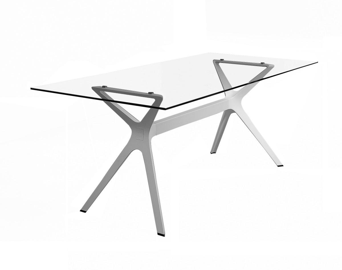 Vela L table de jardin avec plateau 200x90cm en HPL noir, pied noir