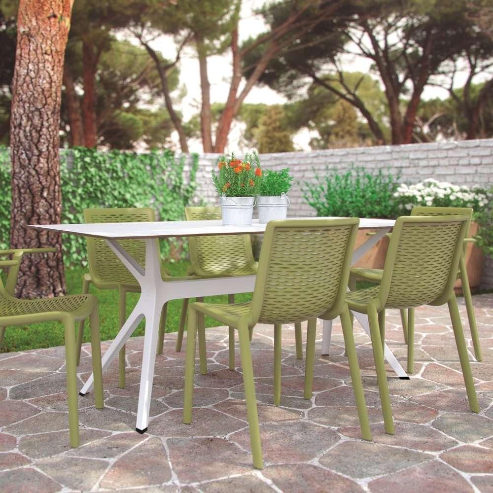Vela M table de jardin avec plateau 120x80cm en verre trempé, pied rouge