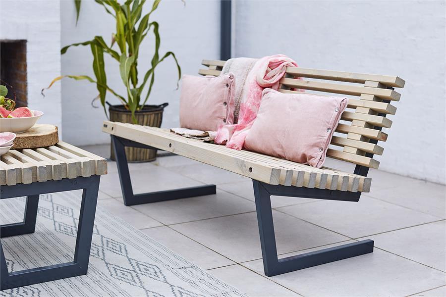 Siesta 138 Cm Banc à Lattes De Jardin Lounge Design Avec Dossier
