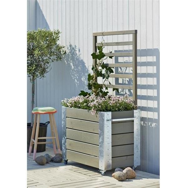 Cubic jardini re design rectangulair avec treillis sur roulettes 87x50x155cm bois noir gris vert - Jardiniere treillis ...
