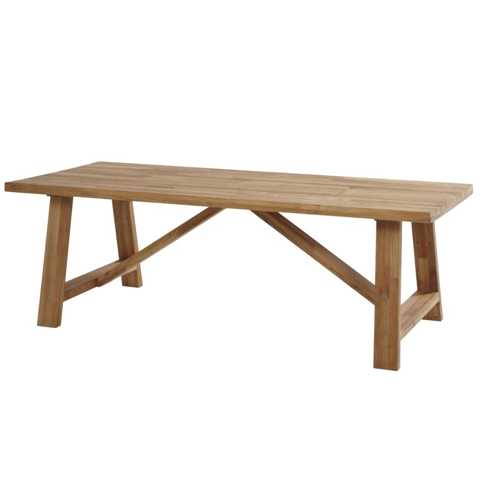 Garden Table Icon In Teak With Table Legs In Teak Stainless Steel