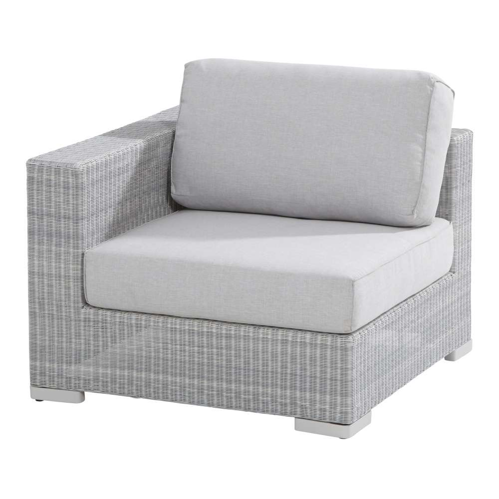 LUCCA garden lounge bench corner module with Ice rattan wicker