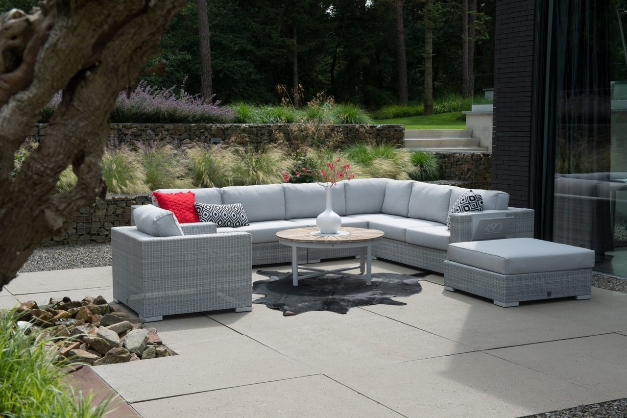 LUCCA garden lounge bench center module with Ice rattan wicker