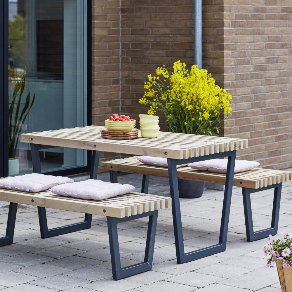 Siesta garden table set including table, 2 garden benches and glass ...