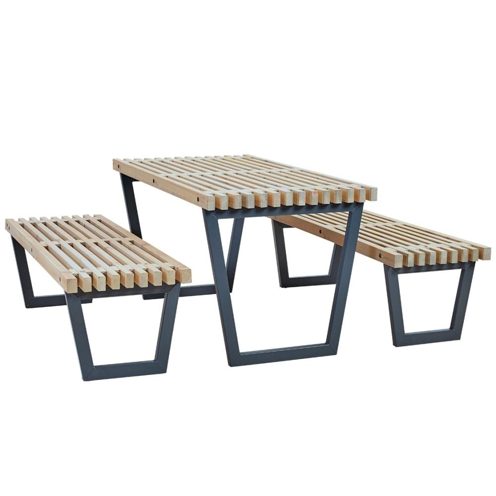 SIESTA - ensemble table et 2 bancs de jardin lasuré style bois-flotté