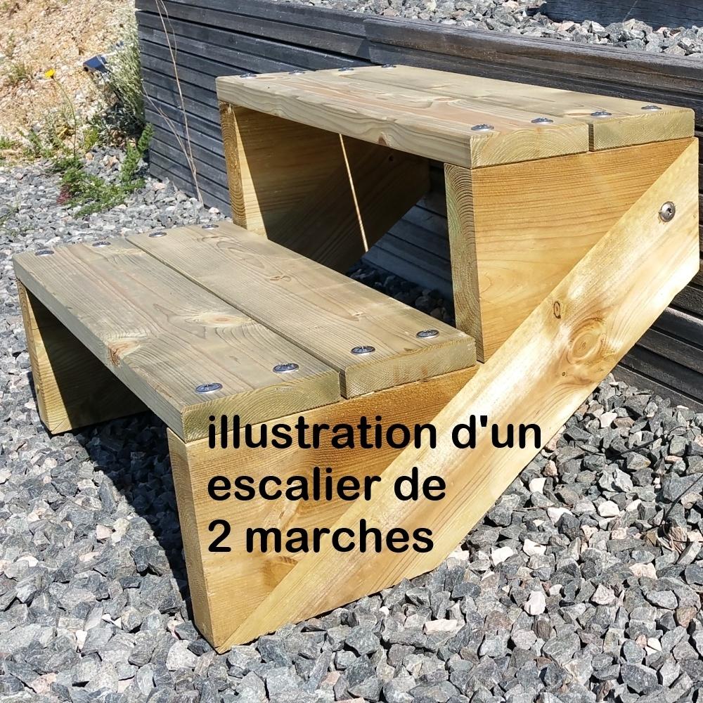 pack escalier 3 marches en largeur 60cm en bois autoclave. Black Bedroom Furniture Sets. Home Design Ideas